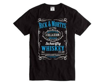Ricky & Morty's Schwifty Whiskey Black T-Shirt Rick and Morty funny cartoon shirt top