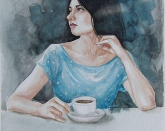Morning Coffee watercolor