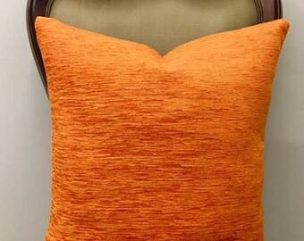 Orange Boho Throw Pillows, Orange Pillow Covers, Rustic Pillow, Bohemian Pillow, Decorative Pillows, Throw Pillow, Orange Cotton Pillows