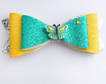 Mint Green Hair Bow Clip, Toddler Hair Clips, Girls Hair Bows, Yellow Hair Bow, Silver Hair Bow, Butterfly Bow, Girl Gift, Butterfly