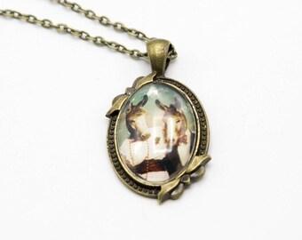 "Simple cabochon pendant necklace ""the couple of donkeys"" romantic, vintage"