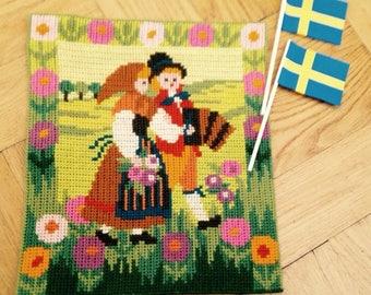 Swedish Handembroidered Folk Art Tapestry