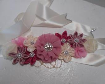 Maternity sash flower babyshower belt . Pink maternity sash belt