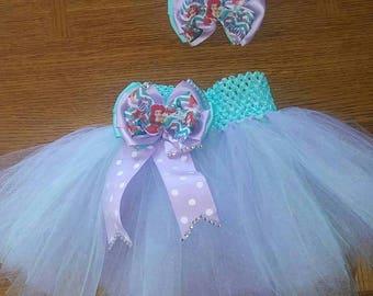Little mermaid tutu and bow set
