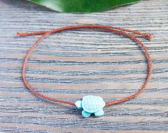Brown String Wish Bracelet Aquamarine Turtle Bead Turquoise Tortoise Dainty Brown Cord Chocolate Brown Cord Kabbalah Bracelet Red String