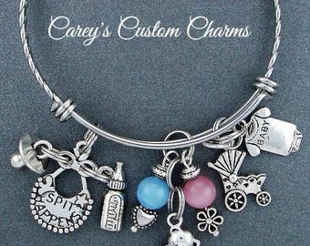 New Baby Charm Bracelet For Mommy To Be , Adjustable Bangle, New Mother / Mom Gift, Pregnancy Congratulations, Gender Neutral, Baby Shower