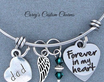 Dad Memorial Keepsake Charm Bracelet, Swarovski Birthstone, Sympathy Gift, Forever In My Heart, Angel Wing, Stainless Steel, Loss Of Father