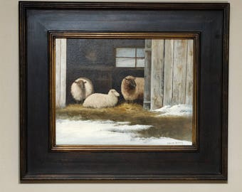Corliss Blakely Original Oil Painting Three Sheep