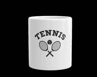 Tennis white ceramic mug-tennis cup-11 oz and 15 oz mugs-gift mugs cups-rackets and tennis ball tennis mug-coffee mug-tea mug-tennis-sports