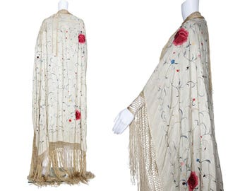 1920s Ivory Silk Piano Shawl with Floral Embroidery