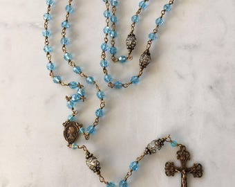 Wire-wrapped Unbreakable Aquamarine Swarovski Rosary with True Bronze Crucifix