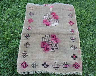 Fadec Colored Oushak Vintage Rug Free Shipping Turkish Rug 2. x 3.2 feet Bohemian Rug Aztec Rug Boho Area Rug Floor Rug Small Rug Code379