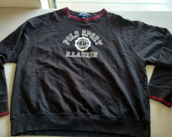 Vintage Ralph Lauren spell out Crest POLO sport light weight sweatshirt black white red