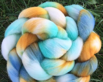 Merino Roving, Teal and Copper, 4 Ounces, Hand painted, Hand Dyed