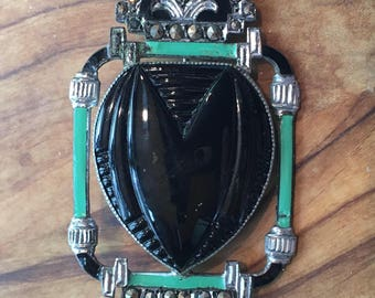 Sale! Art Deco chrome and enamel brooch with marcasite