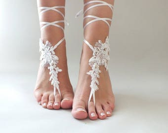 EXPRESS SHIPPING White Lace Barefoot Sandals Beach wedding Barefoot Sandals  Lace Barefoot Sandals Bridal Lace Shoes,Foot Jewelry Bridesmaid