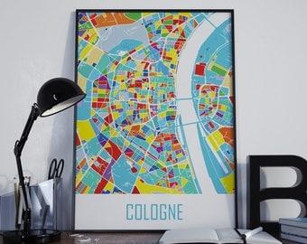 Cologne Map Cologne Watercolor Cologne City Map Cologne Street Map Cologne Travel Map Cologne Map Poster Cologne Map Photo Cologne Map Print
