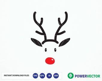 Reindeer svg. Reindeer face svg. Christmas svg. Christmas cricut, Silhouette. Deer svg. Rudolph svg, Reindeer Red Nose Iron on Design