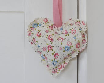 Ditsy floral heart lavender bag, lavender scented heart, heart shaped lavender decoration, pink and blue lavender bag, hanging heart decor