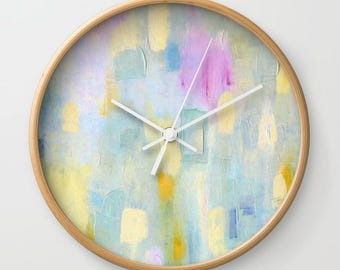 Modern Wall Clock with Battery and Wood, Yellow Abstract Art Clock, FREE SHIPPING