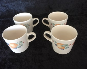 Set of 4 Corelle Coordinates Stoneware Mugs in Abundance Pattern