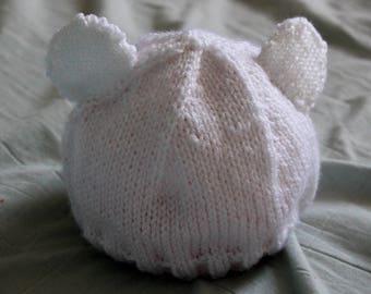 Polar Bear Hat- Toddler White Bear Hat