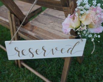 Set of 2 Reserved Chair Signs/ Reserved Seating Sign/ Reserved Wedding Seating/ Reserved Signs for Wedding/ Reserved Row Seating/ Wood Sign