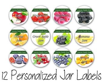12 Personalized Mason Jar Printed labels / Family Farm Custom Print Labels for Jars, Bottles, Lid