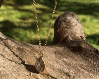 black rutilated quartz gemstone semi precious stone necklace on 14 gold filled chain handmade