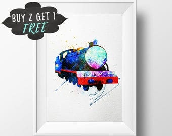 Printable Thomas The Tank Engine Wall Art Print, Thomas The Train Clipart, Thomas Engine Thomas And Friends Watercolor Decor Poster Download