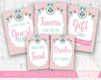Girl Baby Shower Decorations, Pink Babyshower Ideas, Owl Baby Shower Sign,  Cute Printables