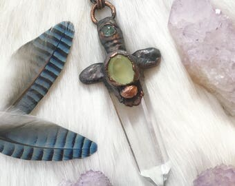 Electroformed Crystal Dagger Necklace | Prehnite cabochon and polished quartz point necklace, crystal jewelry, medieval dagger pendant