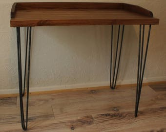 Rustic Vintage Industrial Retro Wood Computer Desk Console Metal Hairpin Legs