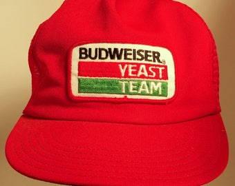 80s Budweiser Yeast Team Mesh Trucker Hat Snapback Rare Beer Brewery Breweriana 1980S Retro Patch Taster Unitog Made in USA American
