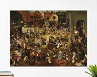 """Pieter Bruegel, """"Fight Between Carnival and Lent"""". Art poster, art print, rolled canvas, art canvas, wall art, wall decor"""