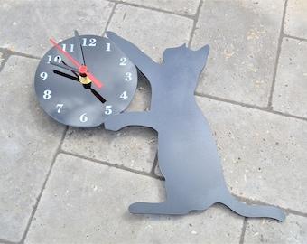 Black Cat Clock Acrylic