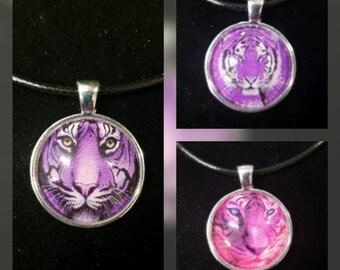 Purple Tiger glass pendant necklaces