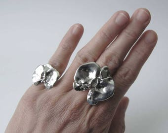 Small Sterling Silver Orchid Ring/Handmade Ring/Gift for her/Silver Orchid/Silver Flower Ring/Artisan Jewellery/Custom Sizes/Valentine Gift
