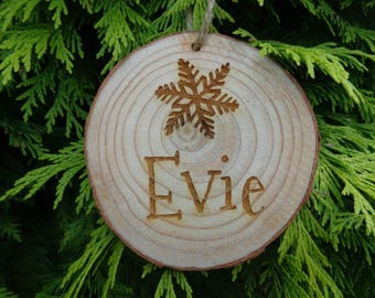 Personalised Engraved Wooden Log Slice Christmas Tree Decoration - Any Name