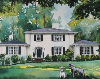 House Portrait Painting of Home housewarming gift custom portrait painting family heirloom Portrait Home Custom House Painting