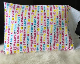 Peace/Happiness/Love//Flannel/Queen Size/Pillowcasesforcancer/Childhood Cancer Donation with each purchase!