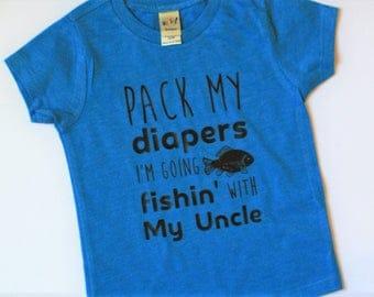 Fishin' With My Uncle Shirt / Funny Kids' T-Shirt / Gifts for Kids' / Custom Infant Shirt / Custom Toddler Shirt / Fishing Shirt /