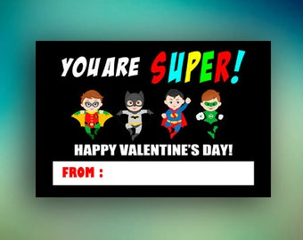 Superhero Valentine, Superhero Valentine Card, Superhero Valentine Card Personalized, Valentine Cards, Valentines Day Card,Funny Friend Card