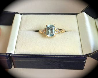 "1.40ct Natural Aquamarine & Diamond Ring 9ct Y Gold Size O (US 7) - ""CERTIFIED SI1-2""  - Exquisite Colour!"