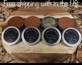 BBQ Rub Kit - set of 4 tins | grilling spices | seasonings | spice set | grill seasonings | Gift under 15 | spice samplers