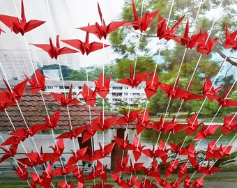 Shiny Red Origami Cranes Garlands 100 Strands