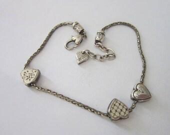 Vintage Silver Triple Slide Heart Anklet Ankle Bracelet