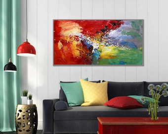 """Abstract Painting Modern Wall Art Acrylic Painting Canvas Art Red Green Original Abstract Art Modern Interior Decor Painting 24x48""""/60x120cm"""
