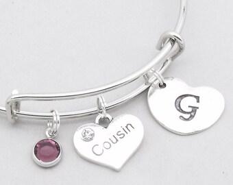 Cousin heart initial charm bracelet | cousin bangle | personalised cousin bracelet | cousin jewelry | cousin gift