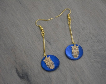 Gold and blue OWL Stud Earrings